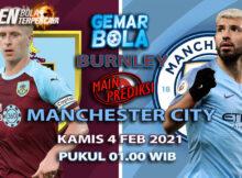Main prediksi Burnley vs Manchester City kamis 4 Februari 2021